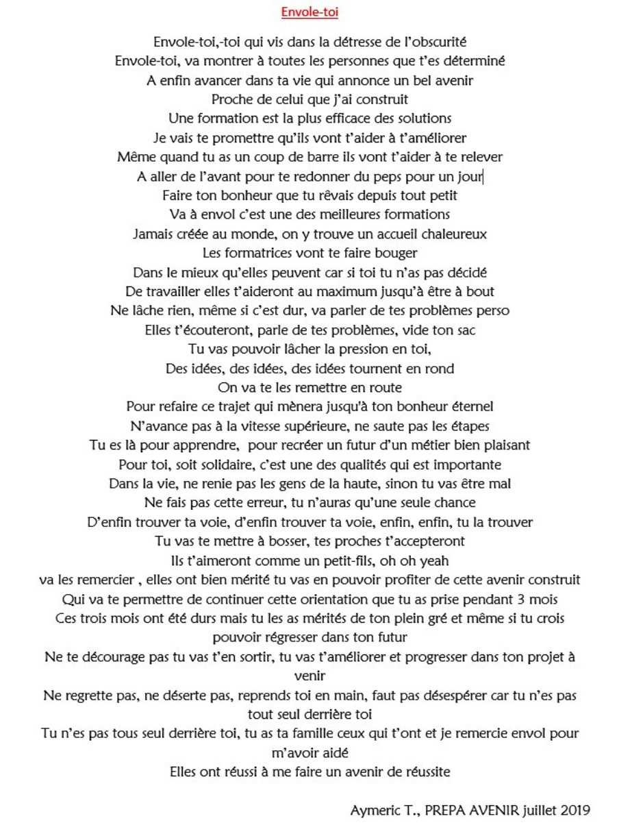 texte chanson d'Aymeric